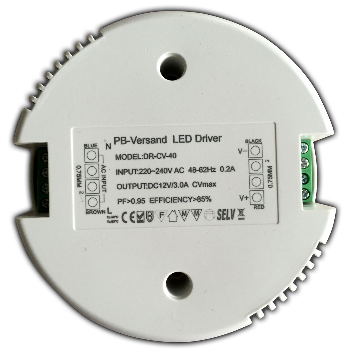 1-40/watts Transformateur LED 12/V CC Rond Sans charge minimum Avec bloc dalimentation