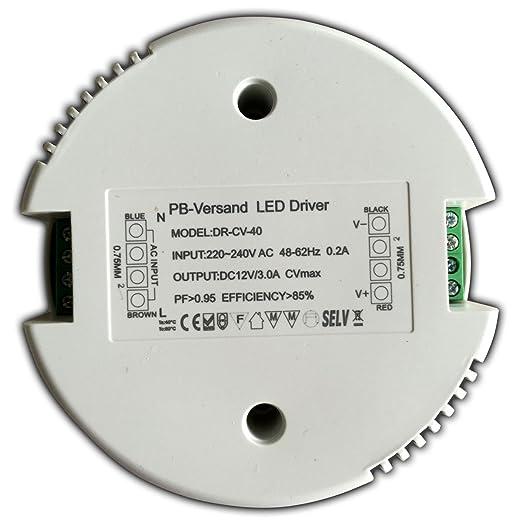 3 opinioni per PB-Versand Trasformatore LED 12 V, DC, 1-40 Watt, rotondo, driver trasformatore-