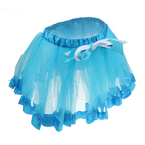 f40a9a72a Phenovo Kids Handmade Colorful Tutu Skirt Girls Rainbow Tulle Tutu Mini  Dress Blue M: Amazon.in: Clothing & Accessories