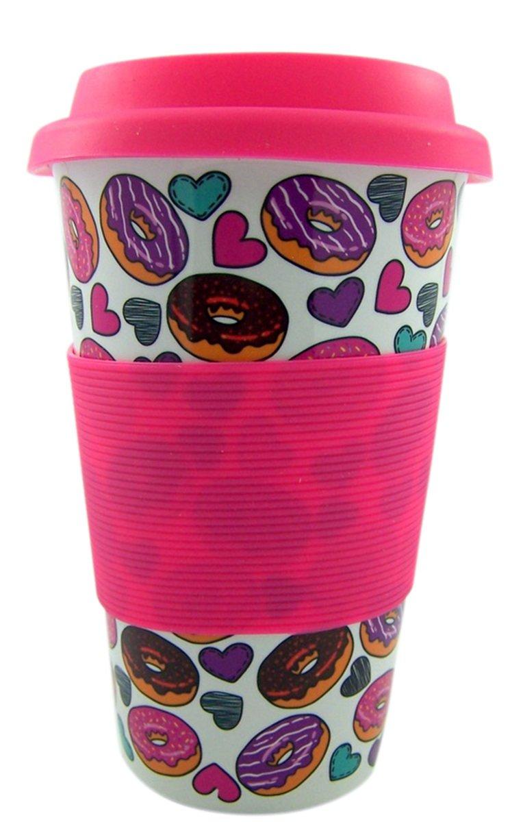 16 Oz Donut Break My Heart Valentines Day Travel Mug Gift Set with Cocoa Mix