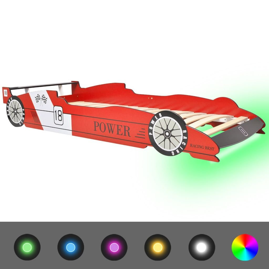 vidaXL Kinderbett mit LED Rennwagen-Design 90x200 cm Rot Autobett Jugendbett