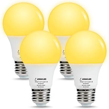 LOHAS Bombilla de luz amarilla con sensor de luz de Dusk a Dawn ...