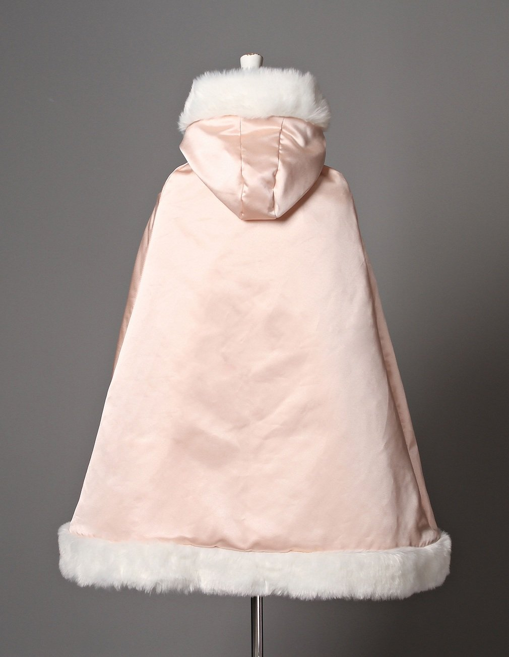 BEAUTELICATE Flower Girl Cape Winter Wedding Cloak for Infant Junior Bridesmaid Hooded Reversible Ivory 44 by BEAUTELICATE (Image #6)