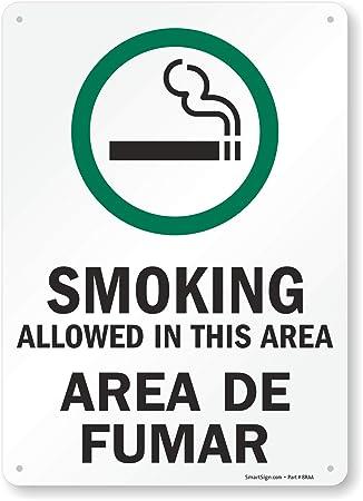 Amazon.com: Fumar Permitido en este área/Área de fumar (con ...