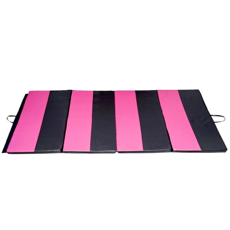 Gymnastics Mat 4'X 6'X 2'' Pu Leather Folding Panel Gymnastics Exercise Tumbling Mat Martial Art Mat,Pink/Black Strip