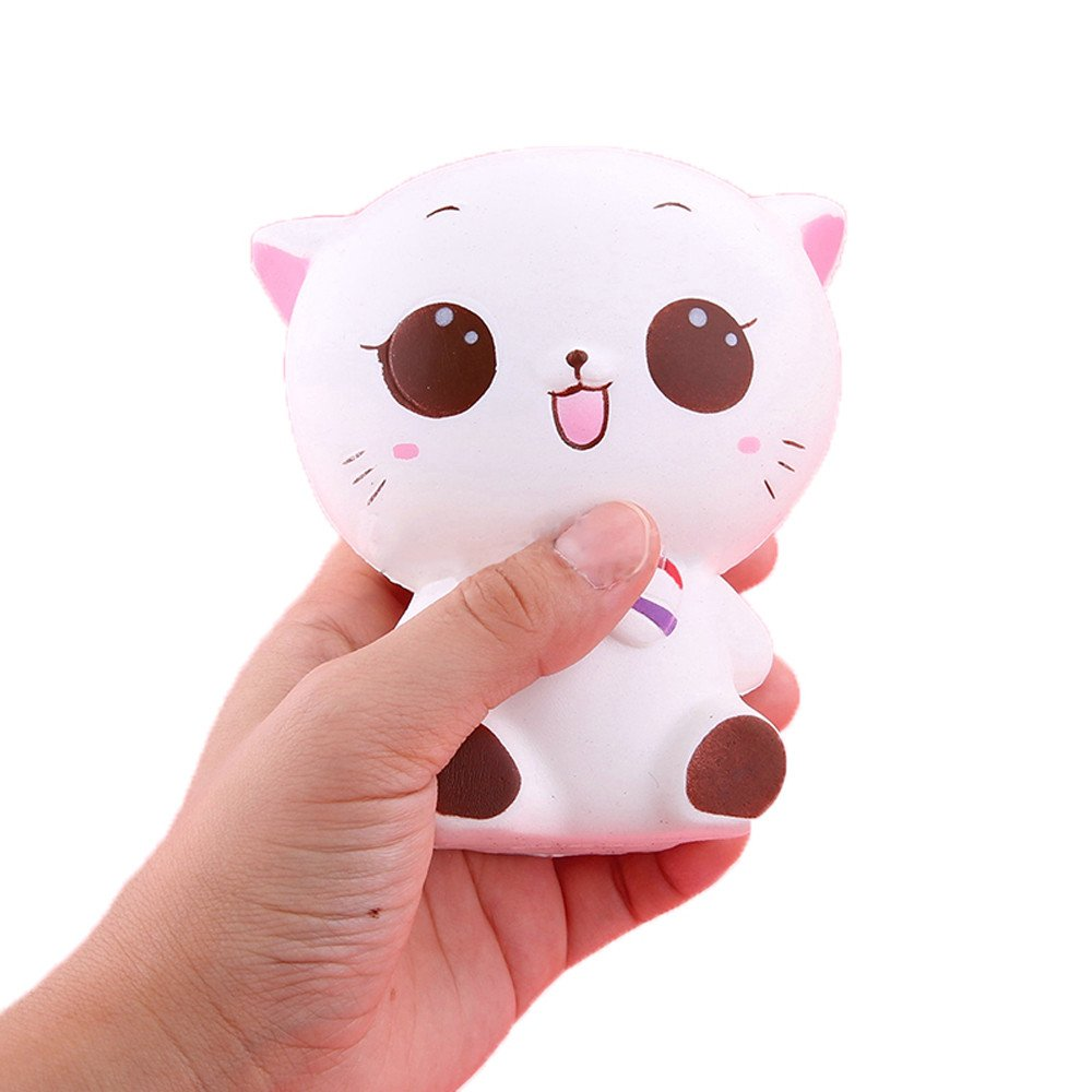 Squishy Toys Jumbo,Wugeshangmao Cute Squishies Slow Rising Toys, Cat Doll Mochi Squeeze Toys, Stress Relief Toy for Collection Gift Key Chains Home Decor Soft Creamy Scented Toys for Kids Adults