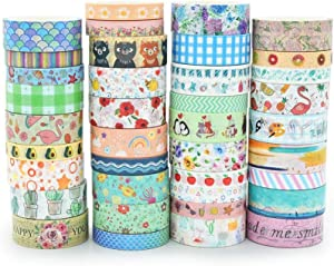 Washi Mill Washi Tape,Set of 38 Rolls Masking Tape,Floral/Plants/Flamingo/Unicorn/Fruits/Ocean/Geometric/Music & Love DIY Decorative Tapes for Planners,Scrapbook,Bullet Journal