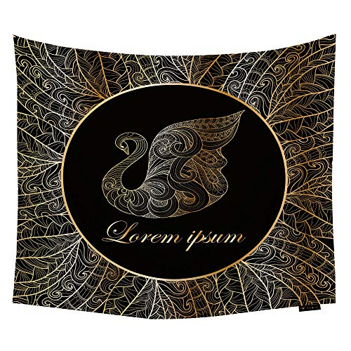 HGOD DESIGNS Popular Handicrafts Gold Swan Tapestry,Decorative Frame with Swan in Art Nouveau Style Wall Hanging Decor for Bedroom Livingroom Dorm 60