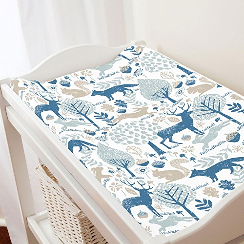 Carousel Designs Taupe and Denim Woodland Animals Changing Pad Cover - Organic 100% Cotton Change Pad Cover - Made in The USA (Pad Denim Changing)