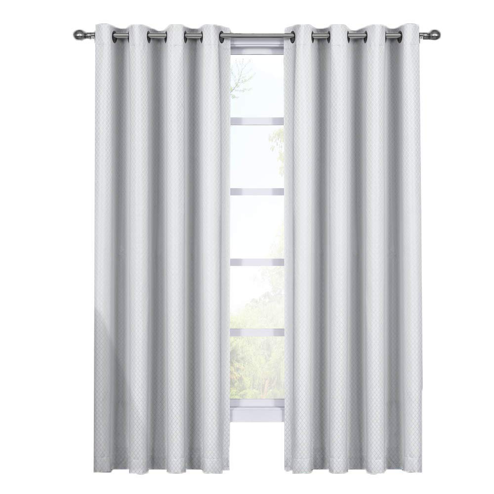 Royal Hotel Diamond White Curtains, Blackout Top Grommet, Jacquard Woven Diamond Window Panels, Pair/Set of 2 Panels, 54x84 inches Each
