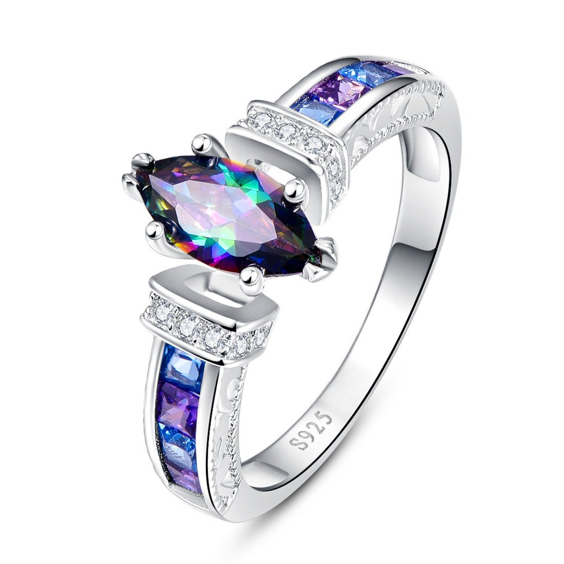 Jrose 1.45ct Created Marquise-Cut Mystic Rainbow Topaz Engagement Ring for Her in 925 Sterling Silver