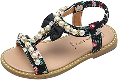 Hauzet Summer Kids Baby Girls Sandals Bowknot Pearl Crystal Roman Sandals PU String Bead Princess Shoes
