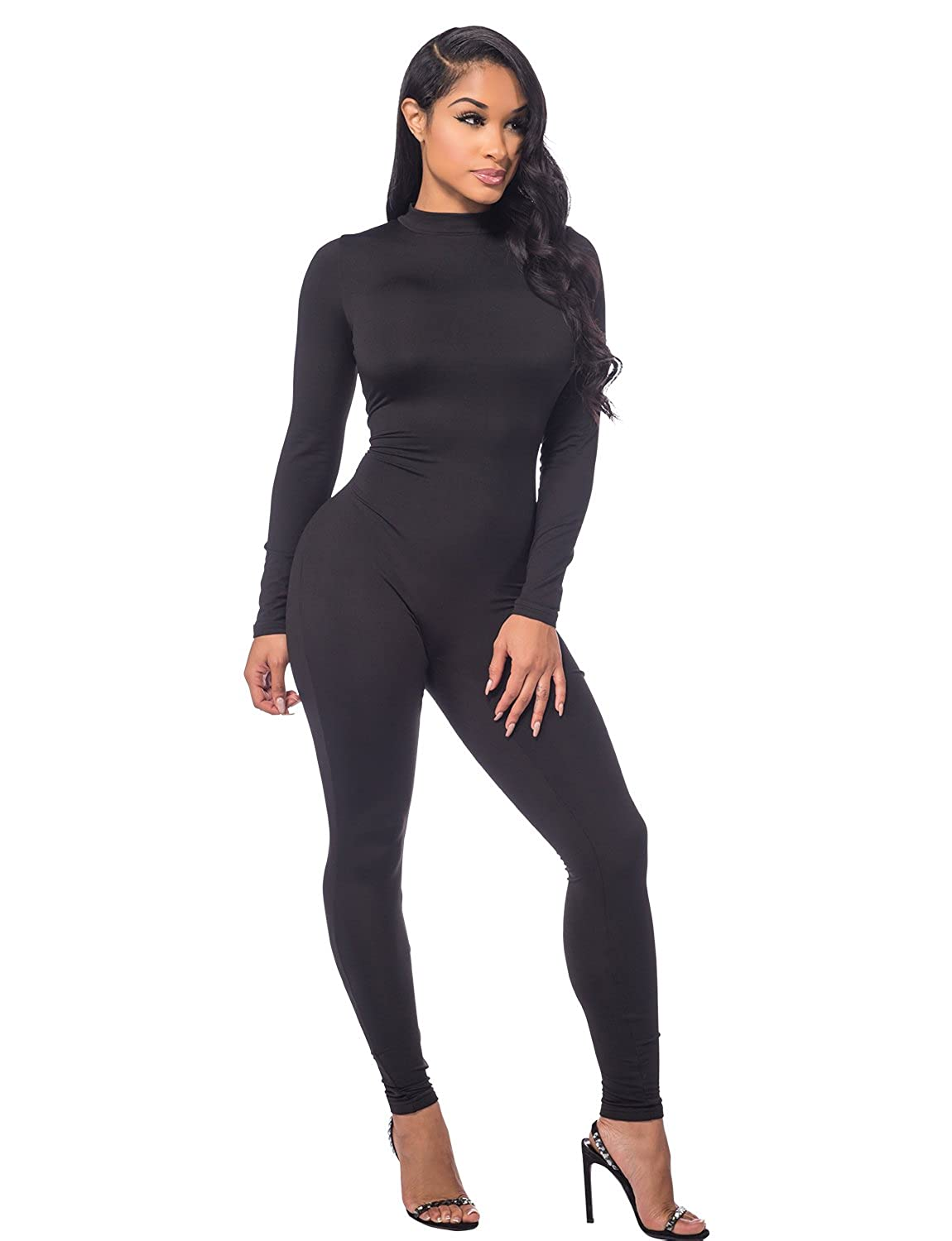 07e93350f008 Amazon.com: Sedrinuo Women Autumn Long Sleeve High Neck Bodycon Tight Full  Length Jumpsuits Rompers: Clothing