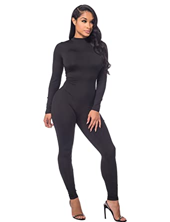 77fe74828f1f Amazon.com  Sedrinuo Women Autumn Long Sleeve High Neck Bodycon Tight Full  Length Jumpsuits Rompers  Clothing
