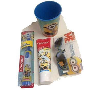 Despicable Me Powered Toothbrush Plus Toothpaste 4.6oz with Sunglasses 100% Uv Protection and 16oz
