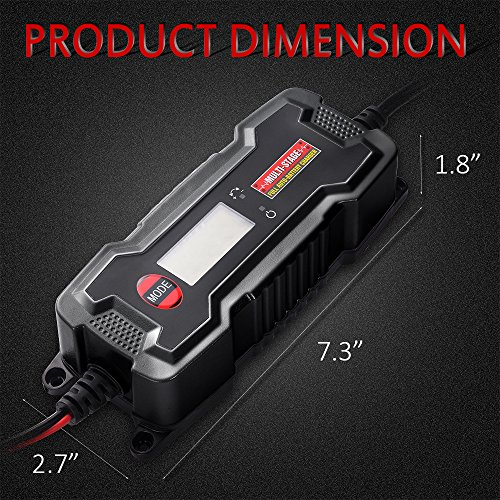 MICTUNING MULTI-STAGE LCD Display 6V/12V 0.8A/3.8A Smart Fully Automatic Battery Float Charger/Maintainer with Inline Blade Fuse, SAE Quick Connector by MICTUNING (Image #6)