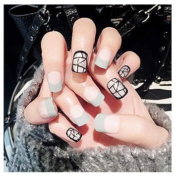 Fairvir uñas postizas con líneas geométricas blancas y ...