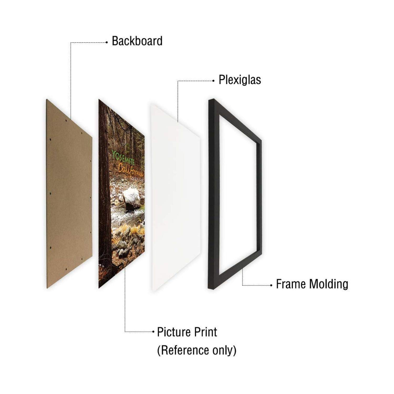 Simple and Stylish FT2040x1-CLFT-MPB1824-1 18x24 Inch Poster Frame Black Landscape//Portrait Golden State Art Swivel Tabs