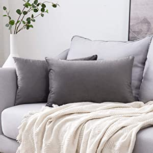 MIULEE Pack of 2 Velvet Pillow Covers Decorative Square Pillowcase Soft Solid Cushion Case for Sofa Bedroom Car 12 x 20 Inch Dark Grey