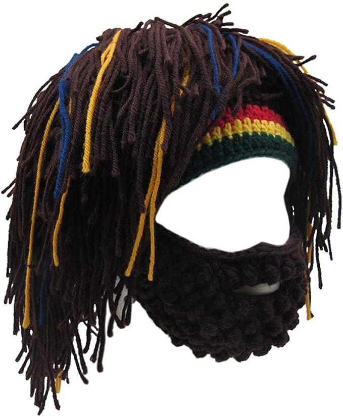 YEKEYI Winter Warm Mask Hat Viking Beard Beanie Horn Hat Knitted Wool Funny Skull Cap