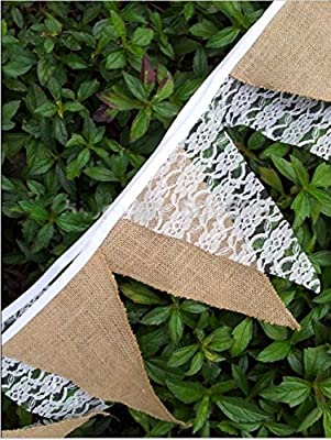Checkmineout 9.3feet Hessian Burlap Floral Lace Bunting Banner Rustic Wedding Decoration Home Garland