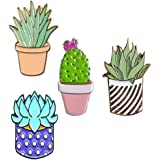GALLOPJOY 1Pc Creative Cute Cactus Lotus Flower Grass Aloe Vera Potted Badge Corsage Collar Brooch Pins