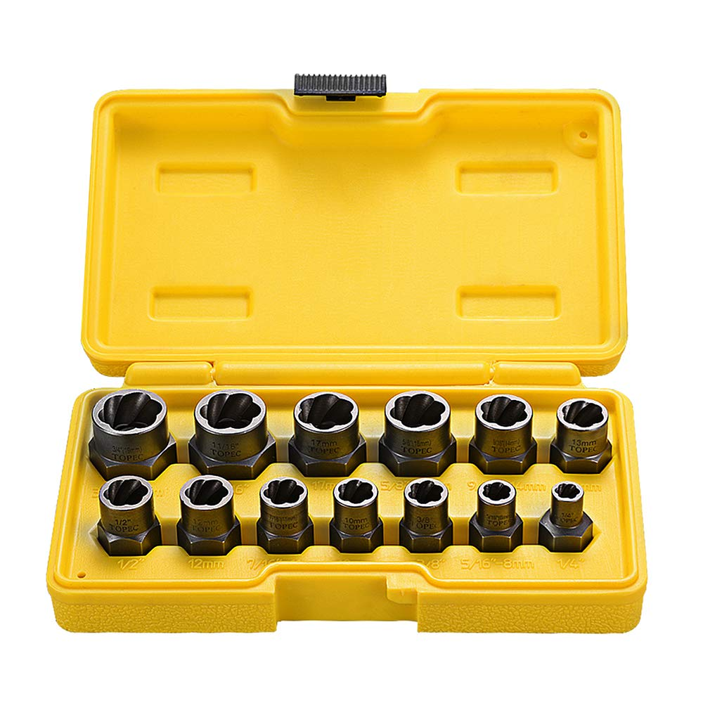 Topec Impact Bolt & Nut Remover Set 13 Pieces, Nut Extractor Socket, Bolt Remover Tool Set by Topec