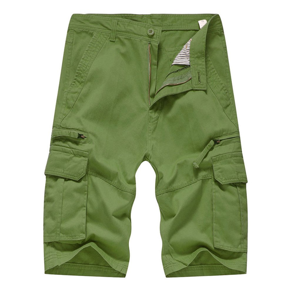 Realdo Men's Solid Shorts, Casual Pure Color Outdoors Pocket Work Trouser Cargo Pant(Army Green,36)