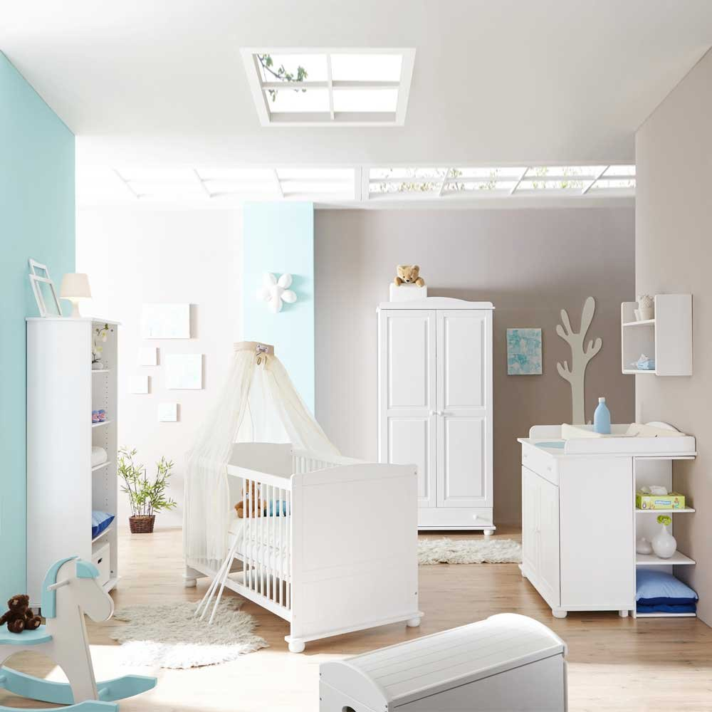 Pharao24 Babyzimmer in Weiß Kiefer Massivholz