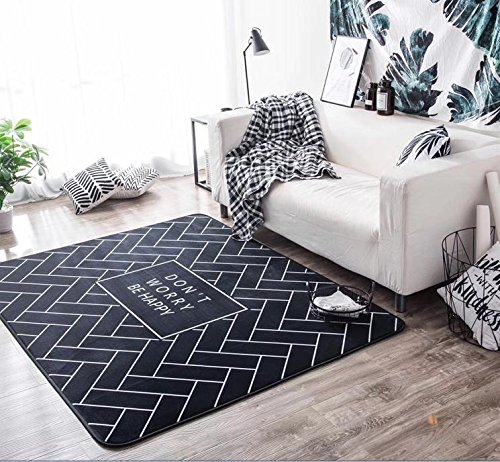 Geometric Space Modern Indoor Decor Area Rug 57x77in Digital Print Large Floor Mat DON'T WORRY BE HAPPY Carpet Rugs Cover for Home Living Dining Room Decoration 57x77in