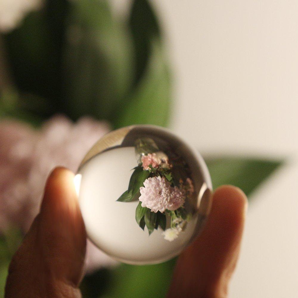 40mm // 1.6 Maison Sunsbell Boule de Cristal Claire Ornements Magiques de Verre D/écoration de Boule de pour la D/écoration de Photographie F/ête
