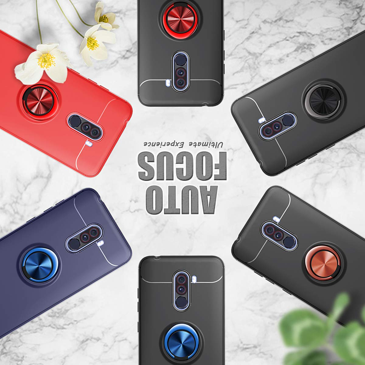 Zater Case Compatible with Xiaomi Pocophone F1 Magnetic Car Holder 360 Rotating Ring Kickstand Cover 3