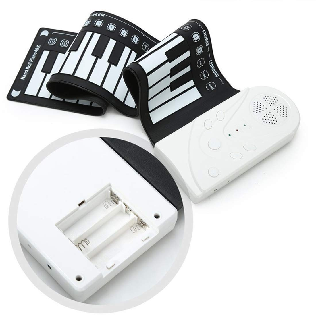 Elrido Portable Electronic Piano Keyboard Kids 49-Key Roll-Up Piano Keyboard Portable Flexible Musical Educational Toy Instrument Soft Responsive Keys Universal Soft Roll Up Piano (White)