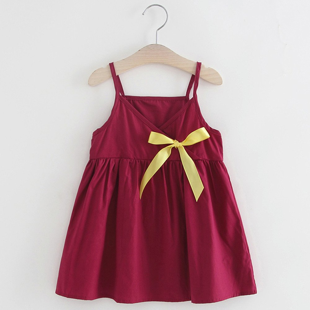 PENATE Baby Girls Summer Sling Sleeveless Dress Solid Bow Causal Party Dresses