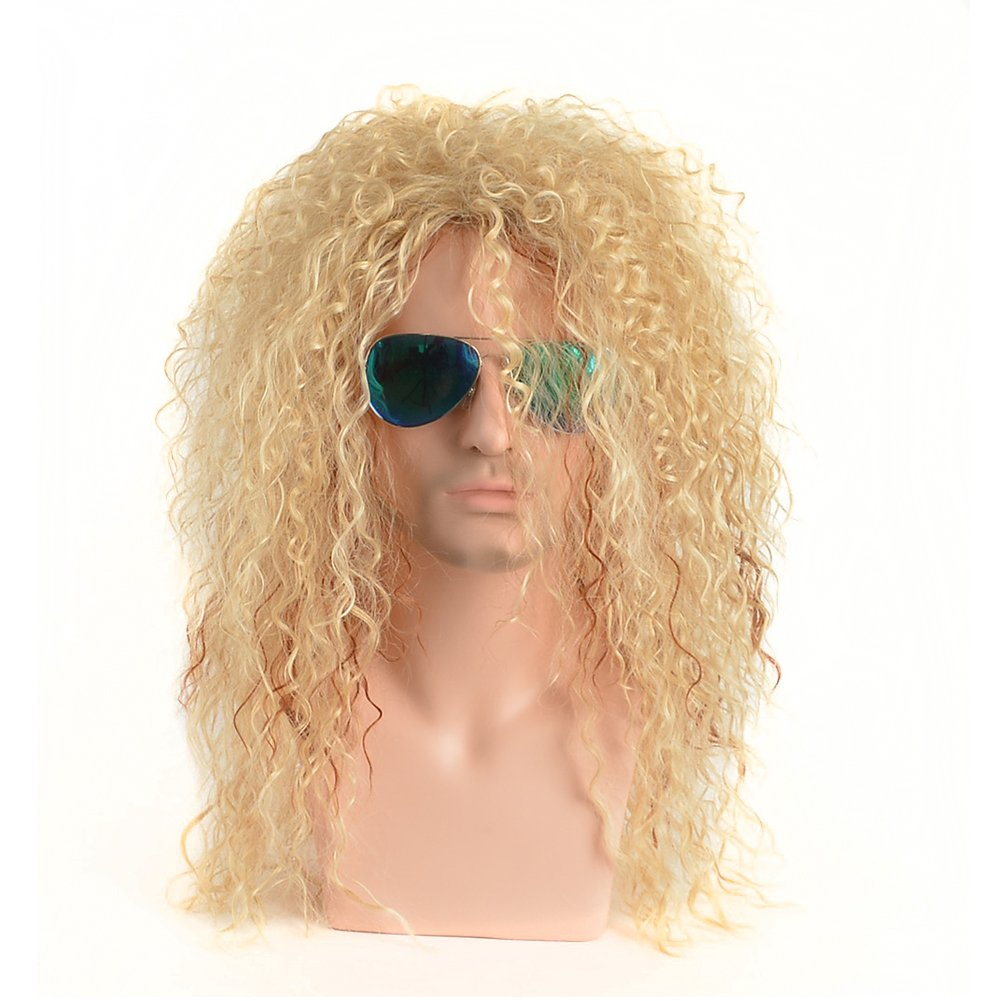 BERON 21'' Long Curly Wavy Wig for 80s Male Punk Rock Style Wig Halloween Cosplay Wig for Daily Use Synthetic Wigs (Blonde Mix Brown)