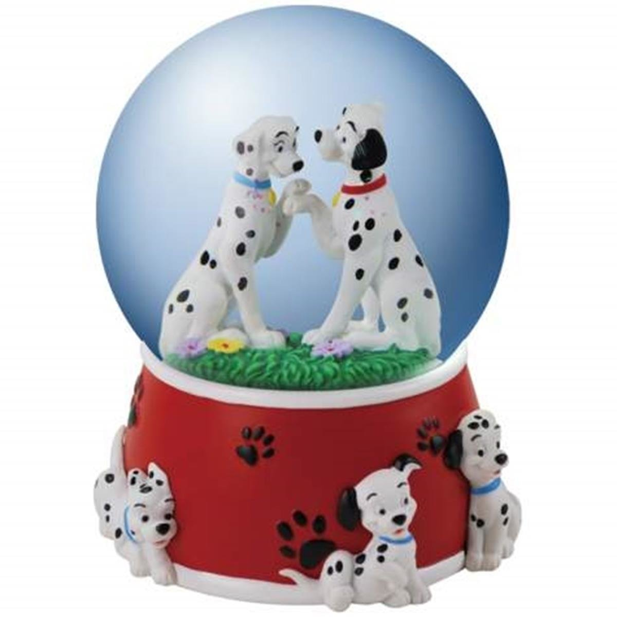 WL SS-WL-22853 100mm Dalmatian Parents Sitting in Love with Pups Red Water Globe