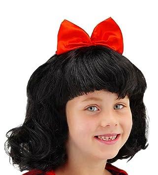 Folat 26800 - Peluca de Blancanieves para niños, color negro/rojo
