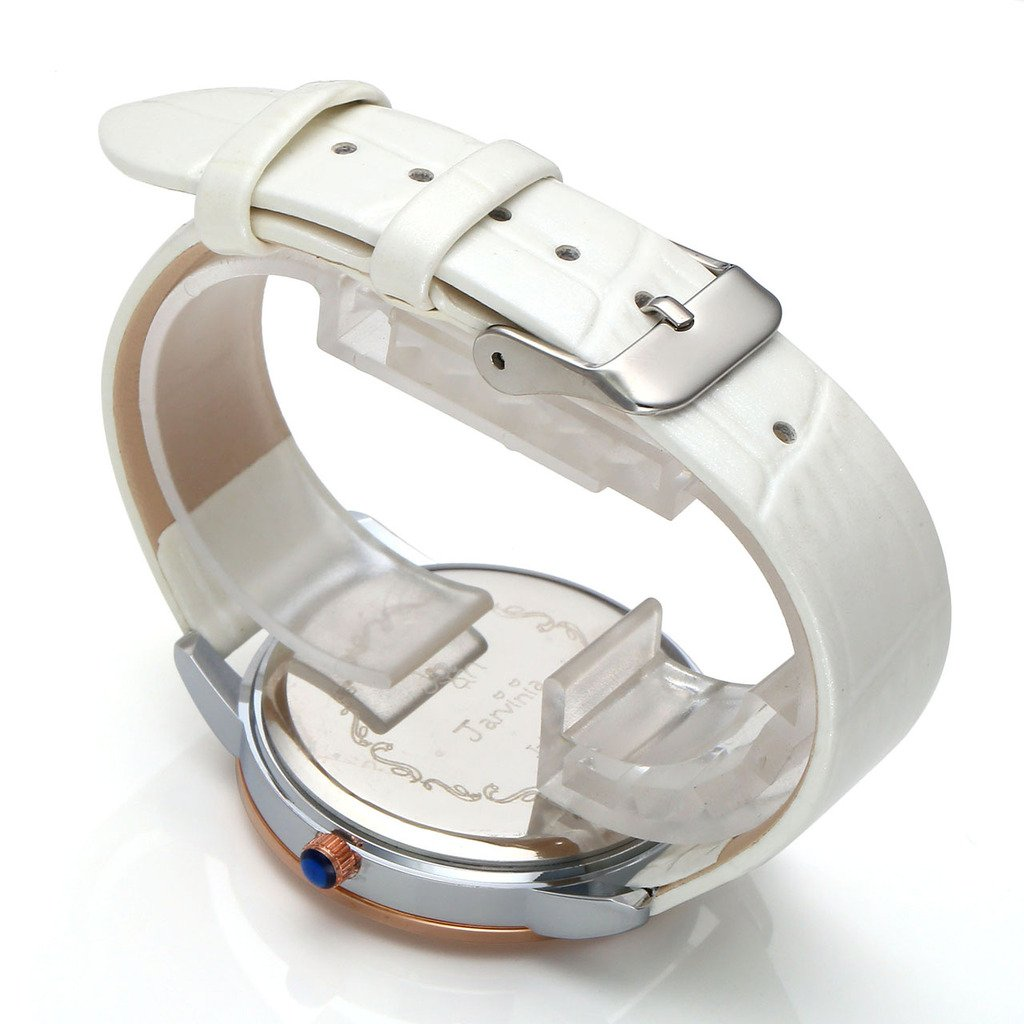 JSDDE Uhren,Elegant Frauen Armbanduhr Strass R?misch Ziffern Damenuhr Echtleder Armband Analog Qaurzuhr J565M,Weiss