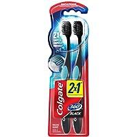 Escova Dental Colgate 360º Preto, Pacote com 2 unidades