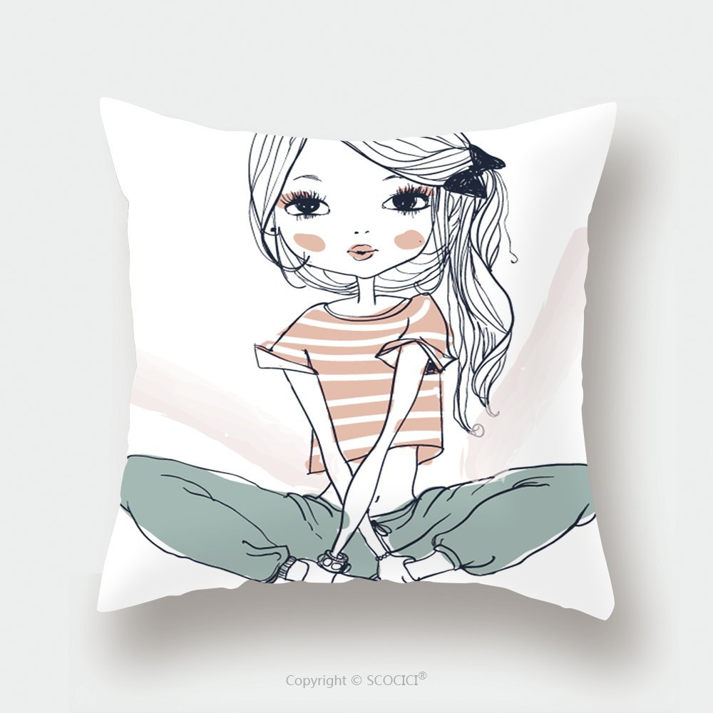 Custom Satin Pillowcase Protector Cute Fashion Girl 349520702 Pillow Case Covers Decorative by chaoran