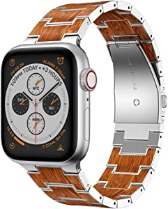 RABUZI Compatible for Apple Watch Band 44mm/42mm,Stainless Steel Metal Inlaid with Natural Red Sandalwood Watch Replacement Bands Compatible for Apple Watch Series 6/5/4/3/2/1 Smartwatch (Silver)