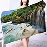 ultra soft and absorbent bath towel Jogan View in Java Indonesia Tropical Seashore Scenery Green White and Brown for Maximum Softness L63 x W31.2 INCH