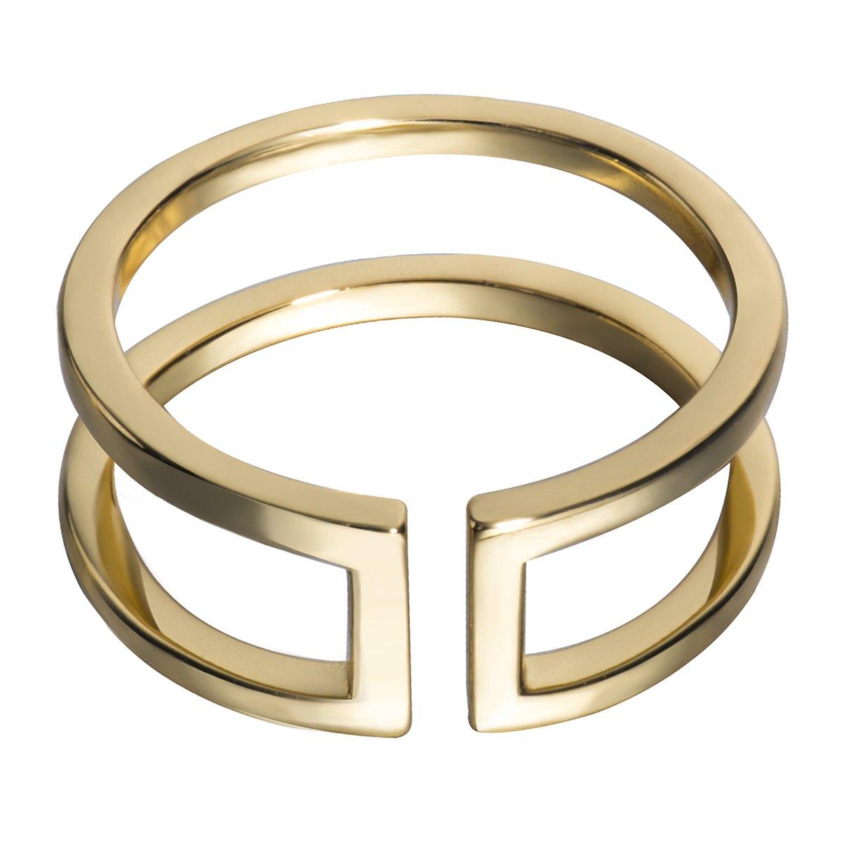 Fonsalette Open Bar Ring Sterling Silver Double Line Bar Ring Parallel Bar Ring (gold, 8)