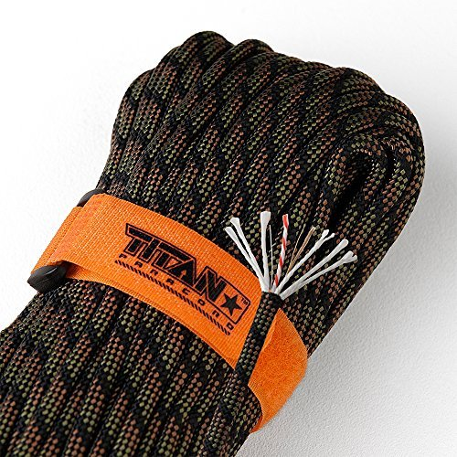Titan SurvivorCord | DRAGONSCALE | 103 Feet | Patented Military Type III 550 Paracord/Parachute Cord (3/16' Diameter) with Integrated Fishing Line, Fire-Starter, and Utility Wire.