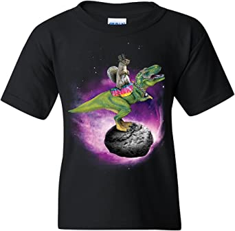 Squirrel Riding T-Rex Riding Asteroid T-Shirt Funny Space Weird Tee Shirt