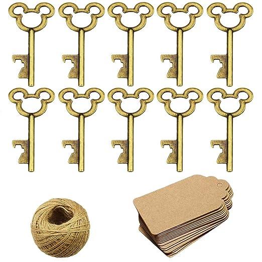 50 unids esqueleto clave abrebotellas con 50 piezas de tarjeta kraft etiqueta y guita para el banquete de boda favorece la decoración rústica, bronce