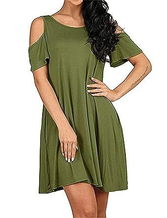 6afc82c527d Feel Show Womens Summer Cold Shoulder Tunic Top T-Shirt Dress Pockets Loose Swing  Dresses