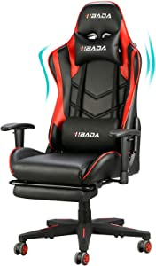 Hbada Gaming Chair Racing Style Ergonomic High Back Computer Chair with Height Adjustment, Headrest and Lumbar Support E-Sports Swivel Chair with Footrest, Red(1-Year Warranty)