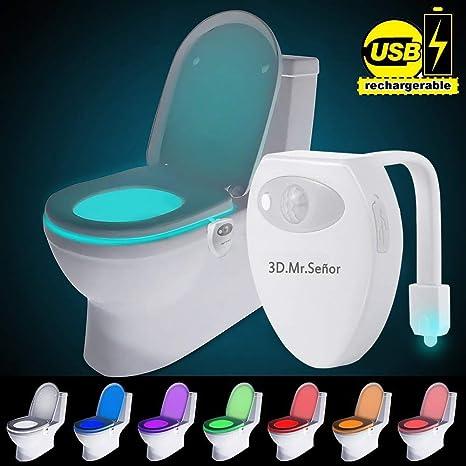 WC Luz de Noche - 2018 Nuevo Diseño 8 Colores Sensor de Movimiento luz LED Automática Inodoro Luz para Baño, Hotel, Cafe Bar, Facil de Limpia y Usar ...