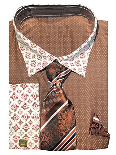 Diamond Pattern Shirt (Sunrise Outlet Men's Two Tone Contrasting Diamond Pattern Dress Shirt with Tie Hanky and Cufflinks - Brown 22.5 3738)